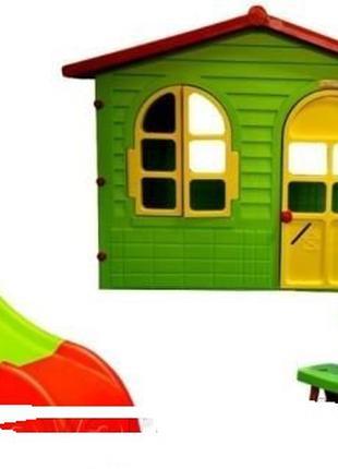 Детский садовый домик с террасой + горка + столик и стол. Польша.