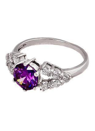 Кольцо из серебра с покрытием из родия «классик» с фианитом цв...