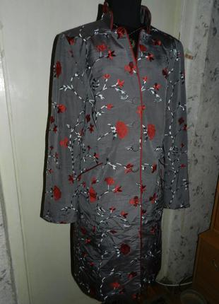 Роскошное,шёлковое-100% шёлк,пальто с вышивкой,карманы,бохо,mu...