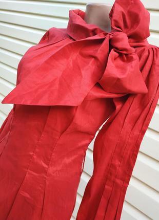 Невероятная красная блуза с большим бантом fashion