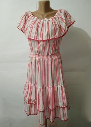 Платье новое хлопковое модное рюши оборки george uk 12/40/m