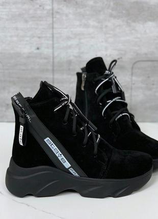 Зимние замшевые ботинки на платформе,стильные чёрные ботинки и...