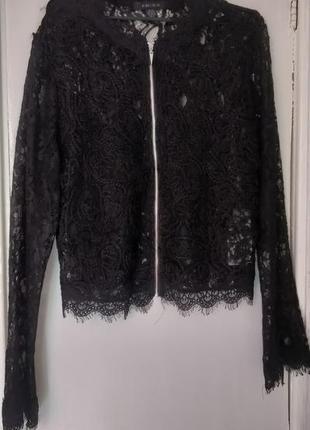 Женская летняя ажурная чёрная кофта накидка пиджак на замке с ...