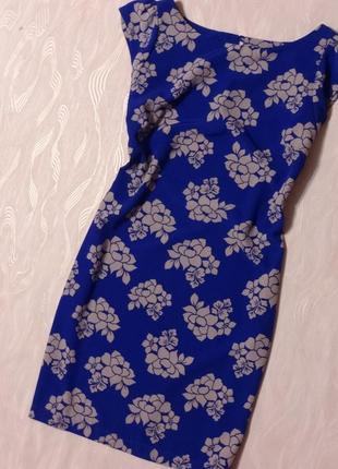 Голубое платье в принт цветы next, р.14