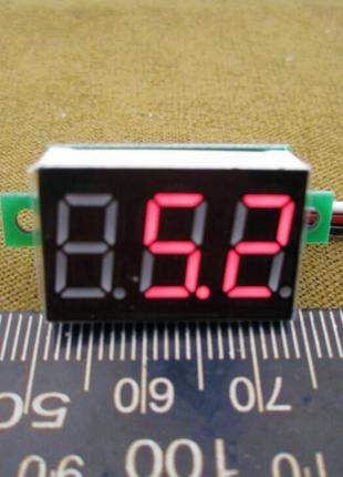 Вольтметр 100v цифровой мини питание DC 4-30В (измерение 0-100B)