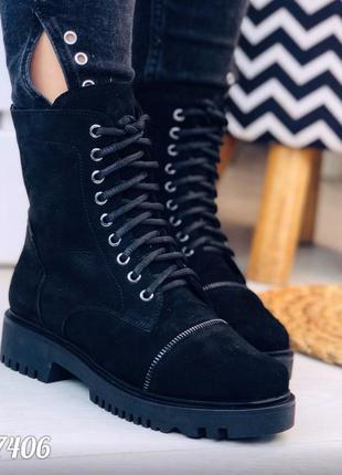 Зимние нубуковые ботинки c молниями,высокие зимние ботинки из ...