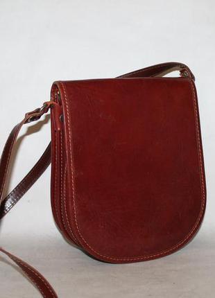 Лаконичная кожаная сумка кроссбоди 100% натуральная кожа