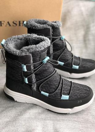 Серые дутики, водонепроницаемые зимние сапоги, ботинки бренд