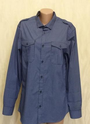 Стильна синяя рубашка в мелкую полоску river island, р.50