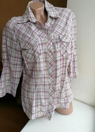 Натуральная рубашка в клетку лен хлопок kingfield (к078)