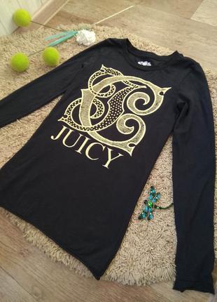 Эффектный чёрный с золотым лонгслив  футболка с длинным рукаво...