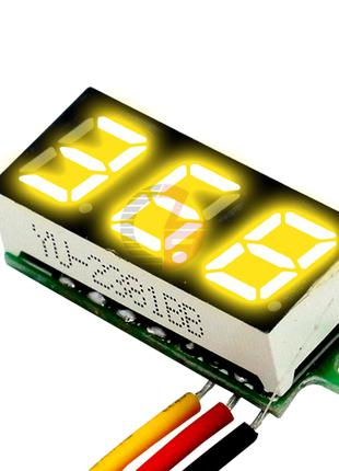 №803 Желтый Вольтметр 100v цифровой мини питание DC 4-30В (изм...