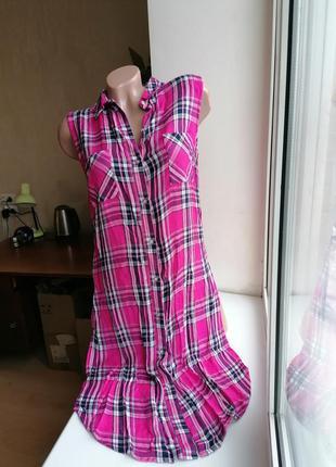 Рубашка фланелевая удлиненная туника с вырезами по бокам в кле...