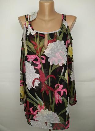 Новая двухслойная блуза с открытыми плечами в цветы fiore mata...