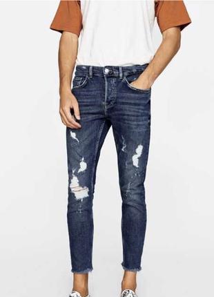 Синие джинсы zara man , cropped ripped !