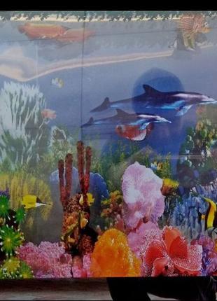 Картина аквариум с подсветкой, звуком, движением рыб.