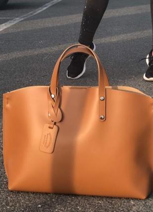 Кожаная сумка шоппер италия